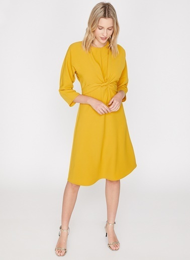 Koton Koton Sarı Elbise Hardal